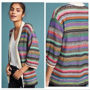 Anthropologie Maeve Colorful Striped Knit Cardigan